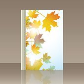 Book autumn motif. Maple leaves. Vector background