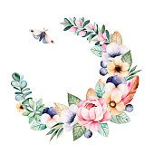 Colorful floral pastel wreath with roses,flowers,leaves,succulent plant