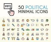 Set of 50 Minimalistic Solid Line Colored Political Icons.