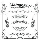 Collection of decorative vintage and classic design element vect