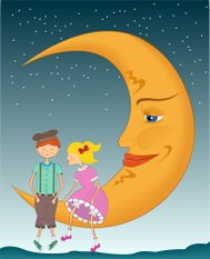 Girl and boy on the moon