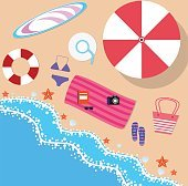 Summer beach in flat design, sea side
