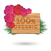Organic wood banner with red flowers