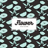 Elegant flower seamless pattern on black background. Wallpaper design.