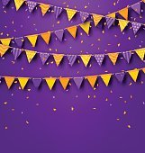 Halloween Party Background with Colored Bunting Pennants