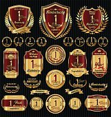 Anniversary golden shields laurel wreaths and badges collection