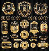 Anniversary golden retro vintage labels collection
