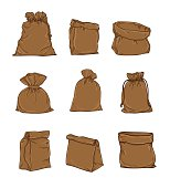 Canvas sack vector. canvas bag.