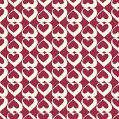 Graphic ornamental tile, vector repeated pattern made using love hearts