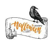 Happy Halloween vector banner with lettering and ribbon, candle