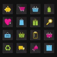 Black Colorful Shopping Icons