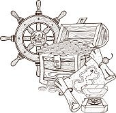 Treasure Chest, a steering wheel, treasure map and compass.