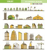 Ecology infographic element set of outline environment and build