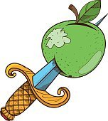 Apple with a dagger clipart on pirate theme.