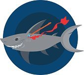 Wounded shark. Clipart on the marine theme. Animal protection.