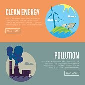 Clean energy and air pollution banners