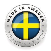 Made in Sweden button with swedish translation