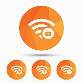 Wifi Wireless Network icons. Wi-fi add, remove.