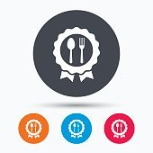 Award medal icon. Food winner emblem sign.