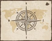 Vintage Nautical Compass. Old World Map on Vector Paper Texture