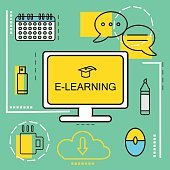 E-learning banner concept. Online Education. Thin Line icons