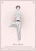 Girl stay at tree pose with mandala background