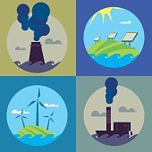 Eco energy and air pollution banners set