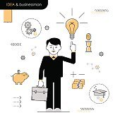 Businessman with an idea. Illustration men enlightened idea.  white background