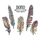 Set of isolated hand drawn feather. Vector ethnic elements.
