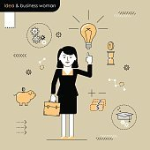 Business woman with an idea. Illustration woman enlightened idea vector