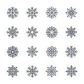 Vector snowflake icon set isolated on white background