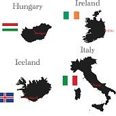 Countries of Europe. Hungary, Iceland, Ireland, Italy