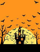 Halloween bats and castle poster