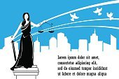 Goddess of justice Themis on the city background.