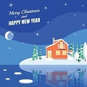 Winter horizontal landscape banner Flat style