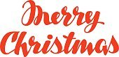 Merry Christmas hand lettering. Vector calligraphy element for design xmas
