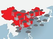 Air pollution in China, image illustration