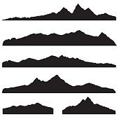 Mountains landscape silhouette set. High mountain border background collection