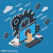 Data processing, cloud computing vector concept