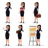 Set character businesswoman, secretary or teacher. Smiling busin