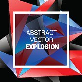 technology abstract background.   burst vector red blue black