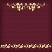 Square dark red background with pattern and grape ornament.
