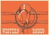 American West cowboy hat and lasso on wood fence.Vector