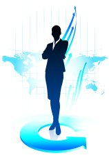 Young business woman on world map background