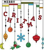 Christmas greeting card with hanging toy
