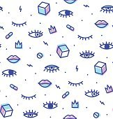 Seamless pattern in the style of psychedelic eyes