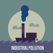Industrial pollution. Factory with smoke stack