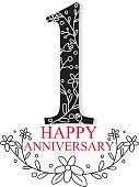 Anniversary Celebration Design with decorative Floral elements