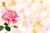 Watercolor pink rose on pastel background with copyspace