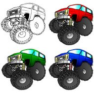 Cartoon illustration of a 4x4 SUV truck with large tires.